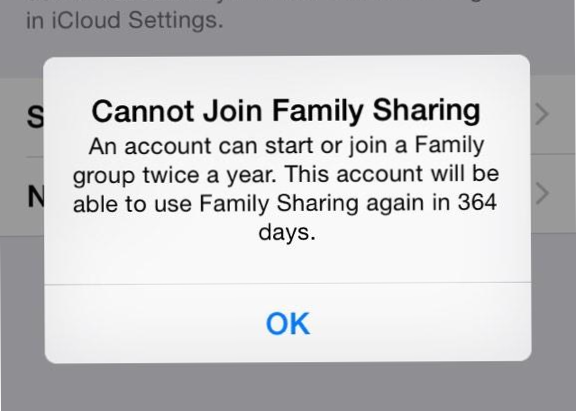 Cannot join family sharing