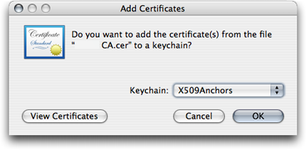 Import the certificate into X.509Anchors dialog box