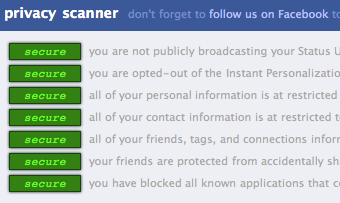 Facebook privacy settings scan
