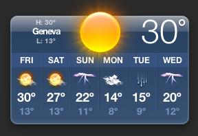 Temperature Widget for Geneva Switzerland (30°C)