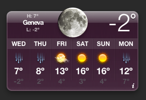 Weather widget: Geneva, February 20, 2008: cold and raining soon