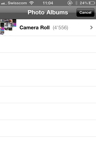 Can't select the Photo Album Camera Roll from Instagram | David