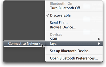 Select Connect to Network from bluetooth menubar