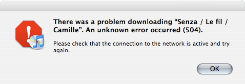 iTunes download 504 error