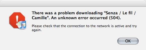 iTunes download 504 error