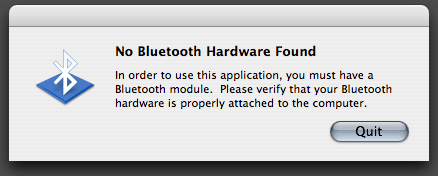 Bluetooth unavailable dialog box