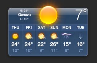 Temperature Widget for Geneva Switzerland (7°C - and rising!) @ 07:00 CET