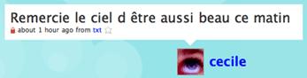 Cécile's tweet