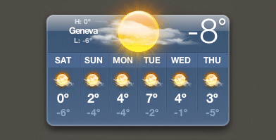 Temperature Widget for Geneva Switzerland (-8°C)
