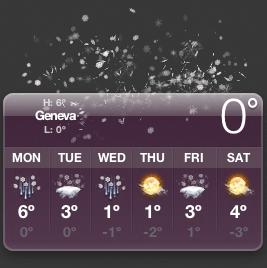 Temperature Widget for Geneva Switzerland (0°C - snow) @ 21:00 CET