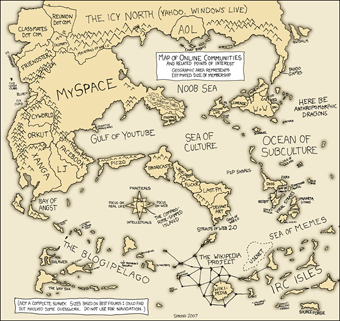 Map of onine communities, 2007 xkcd