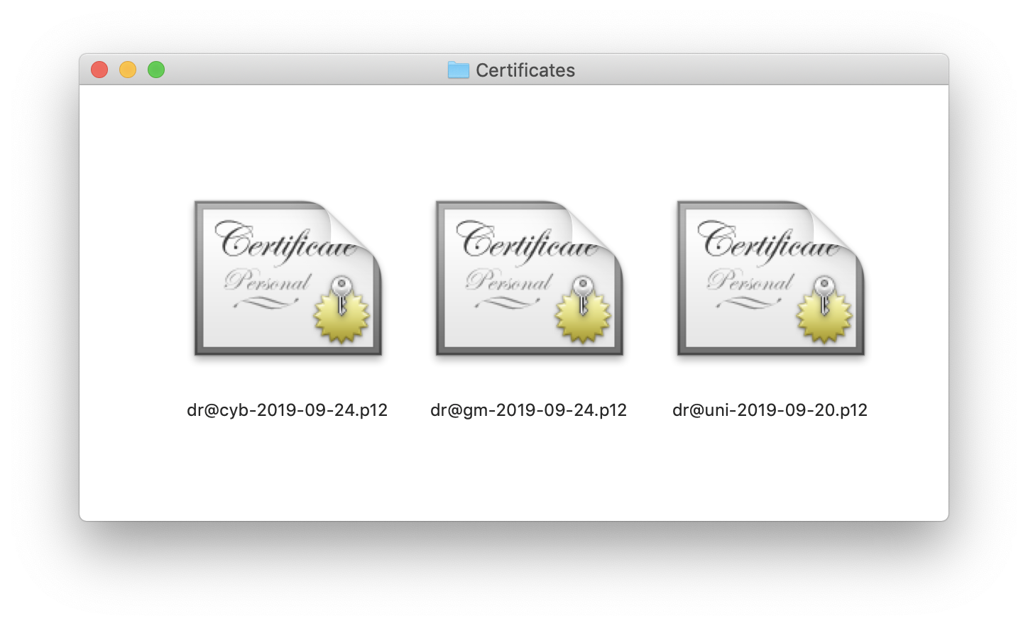 Certificates files on my desktop