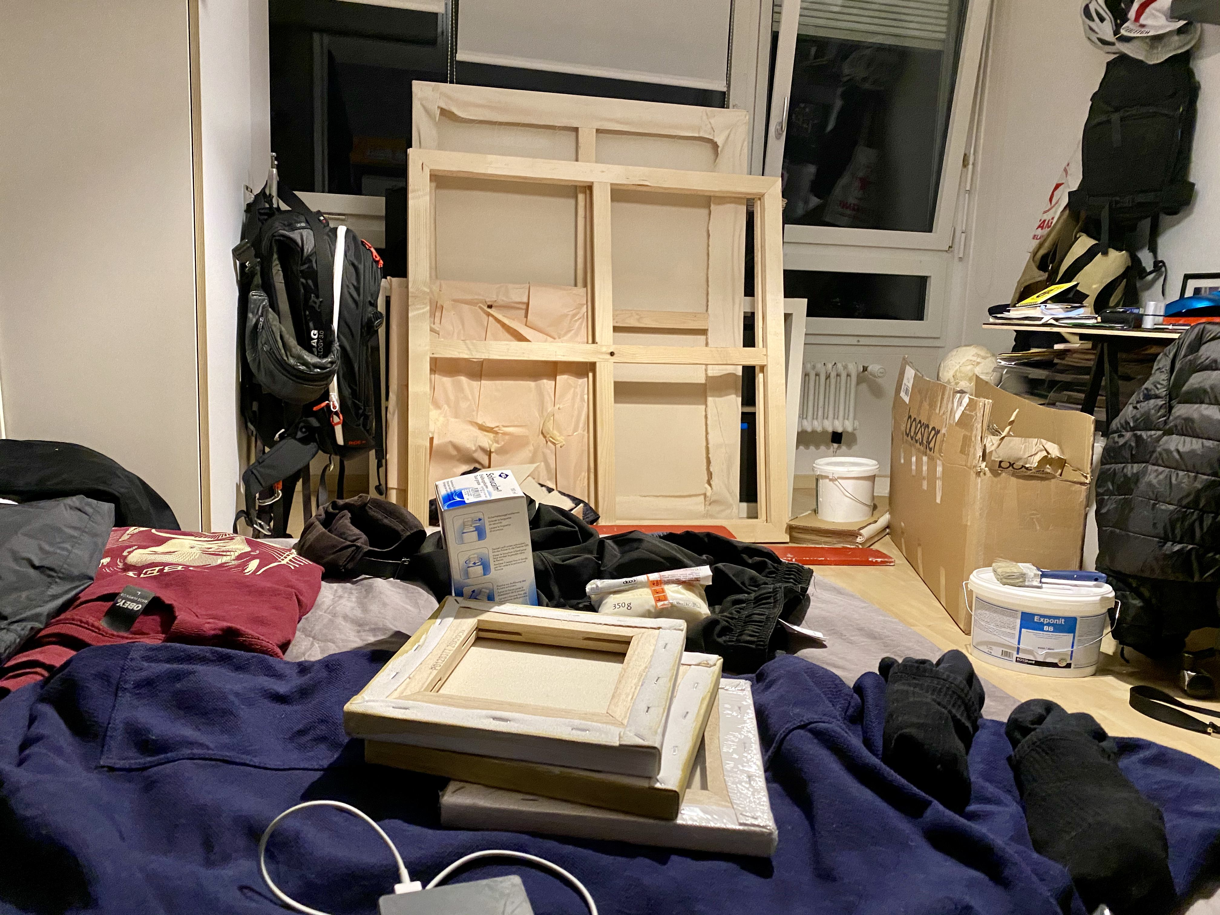 Canvases, frames and paint