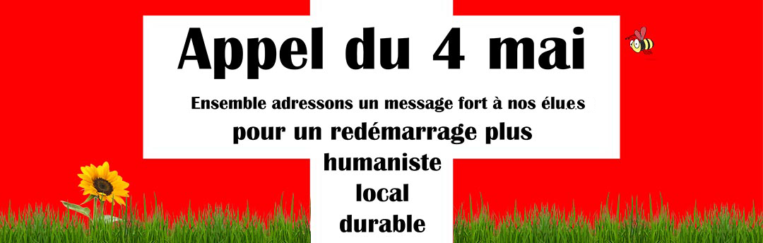 Call of May 4 banner for «For a local and sustainable humanist revival»