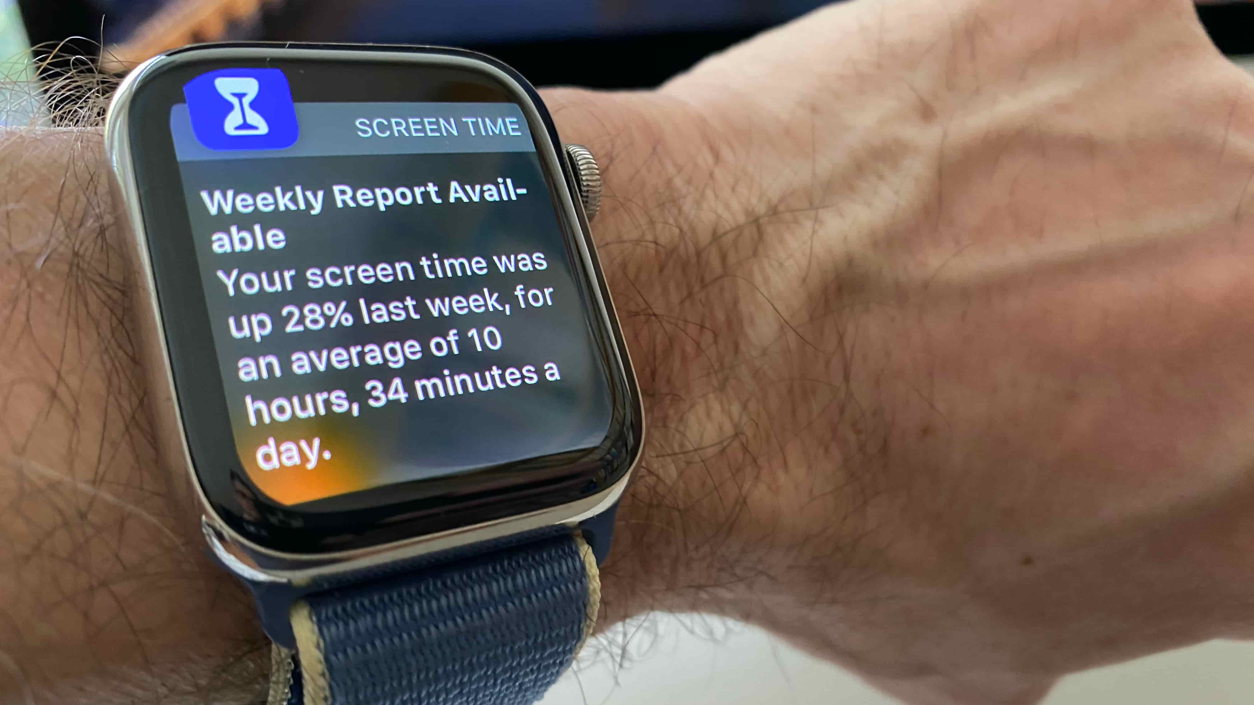 Apple Watch displaying the weekly Screen Time report