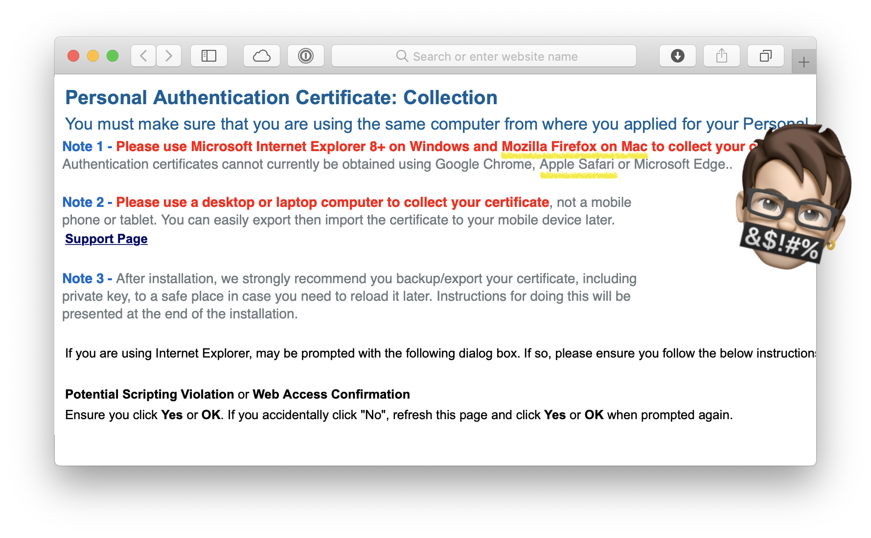 Screenshot with incorrect instructions on how to collect your certificate