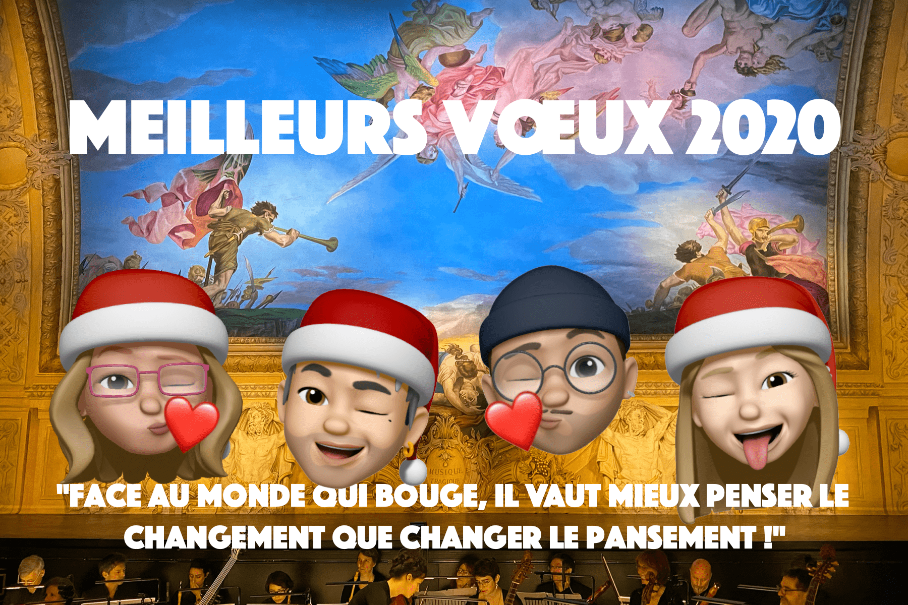New Year wishes with Fabienne, David, Mathias and Emma's memojis