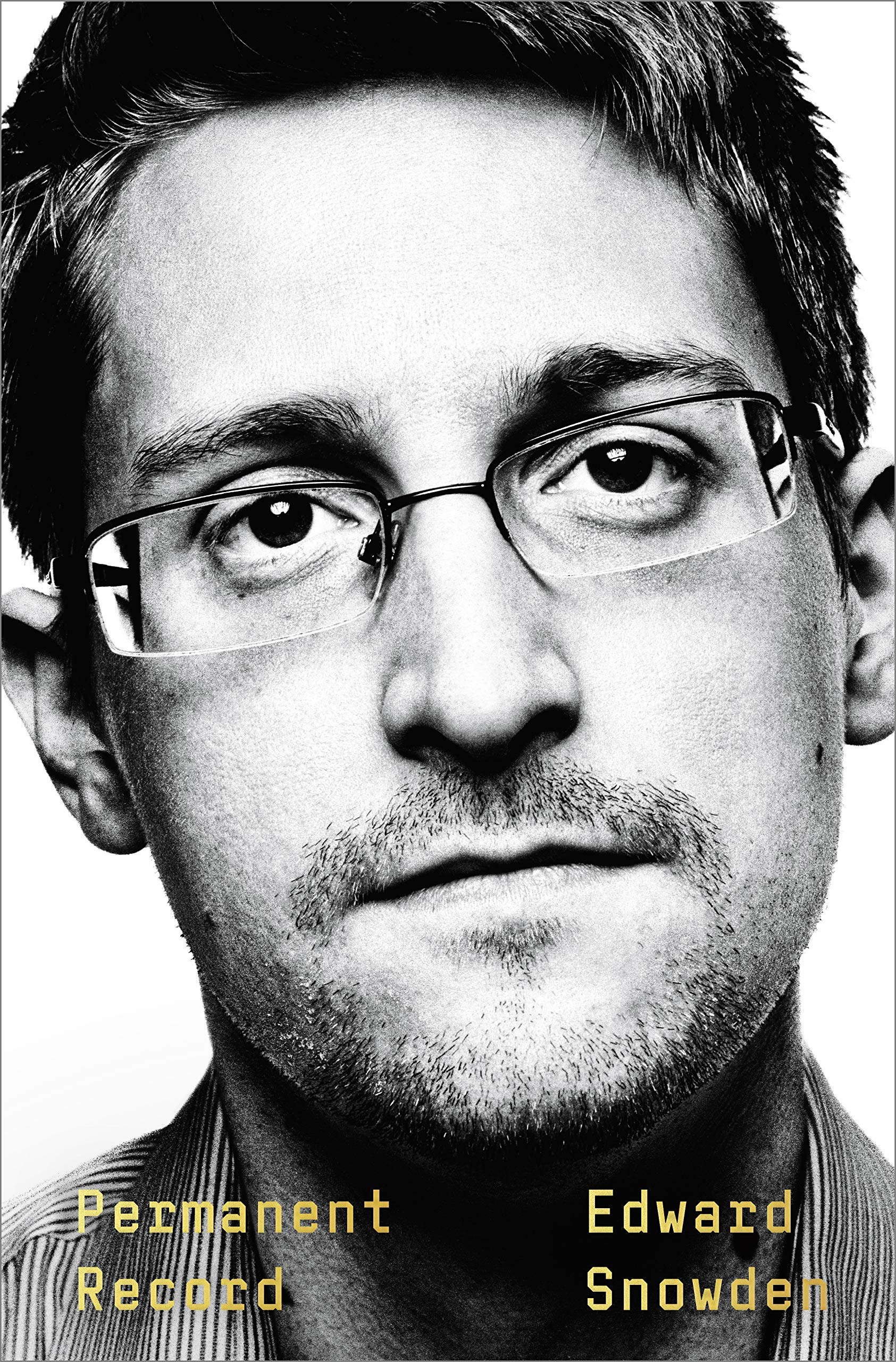 The cover of the book Permanent Record displaying a portrait of Edward Snowden