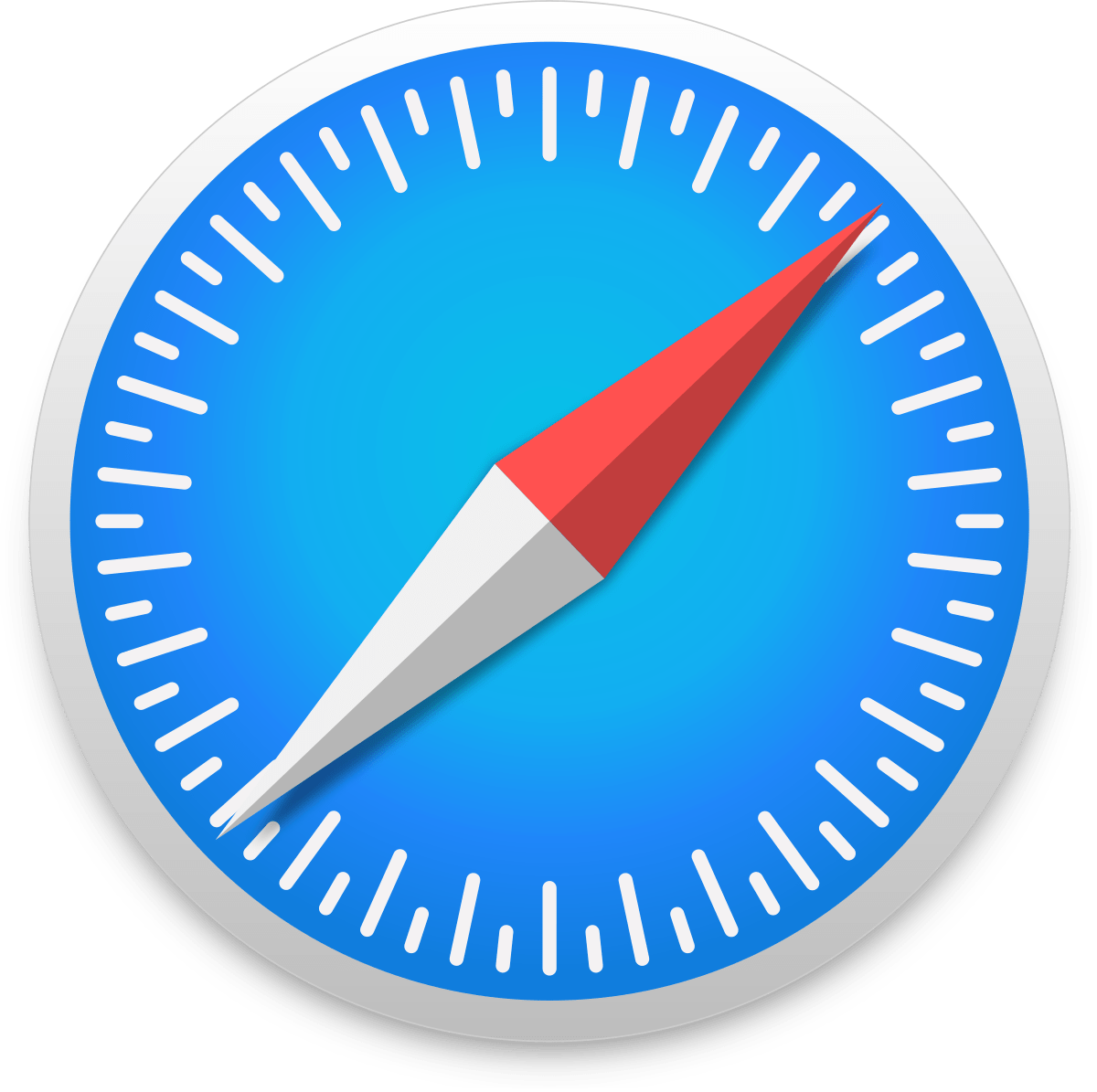 Safari browser logo : a blue compass with a red and white needle