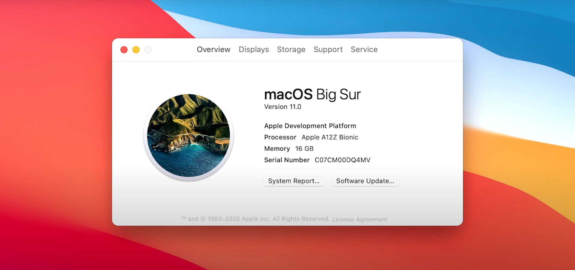 macOS Big Sur About This Mac dialog box running on an Apple A12Z